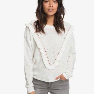 Roxy Knit Ruffle Pointelle Sweater